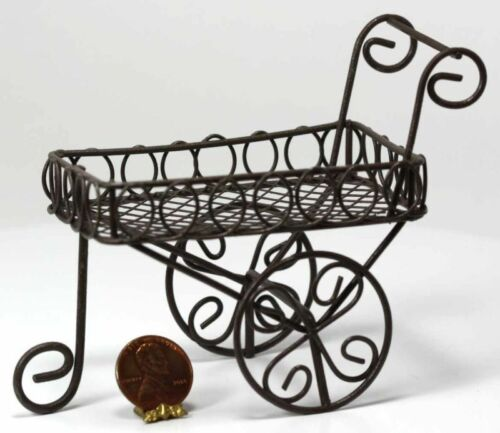 Dollhouse Miniature Aged Metal Garden Cart by Darice