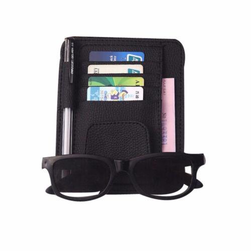 Tasca porta documenti carte credito clip occhiali PELLE aletta parasole auto car