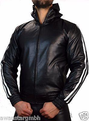 Motorrad Lederjacke mit 2 Roten streifen Brando,Chopper,Biker Leather Jacket side Zipper