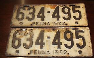 Image is loading PAIR-Antique-License-Plate-PA-1914-Pennsylvania-112319 & PAIR Antique License Plate PA 1914 Pennsylvania 112319 | eBay