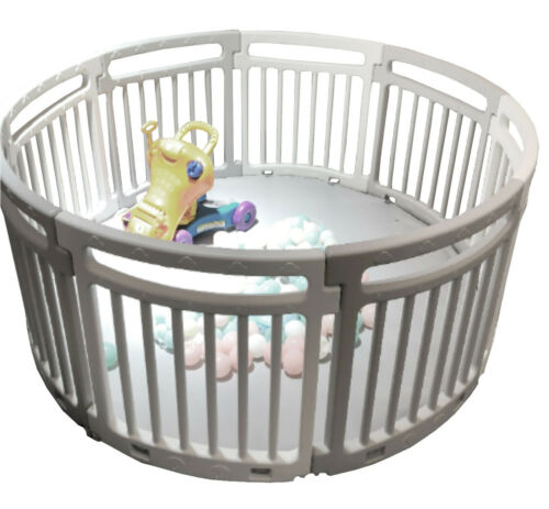 Large Panels Baby Playpen Room Divider Child Toddler Play Pen Circle Grey//White