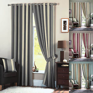 Image Is Loading Whitworth Stripe Eyelet Curtains Faux Silk Lined Curtain