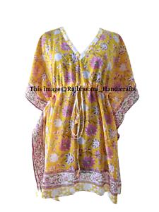 Indian Cotton Boho Caftan Bikini Cover Dress Kaftan Beach Wear Poncho Short Maxi