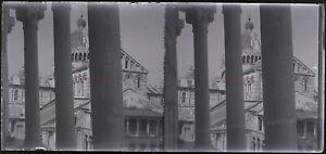 Italia Cattedrale c1930 Foto Negativo Placca Da Lente Vintage Stereo VR16