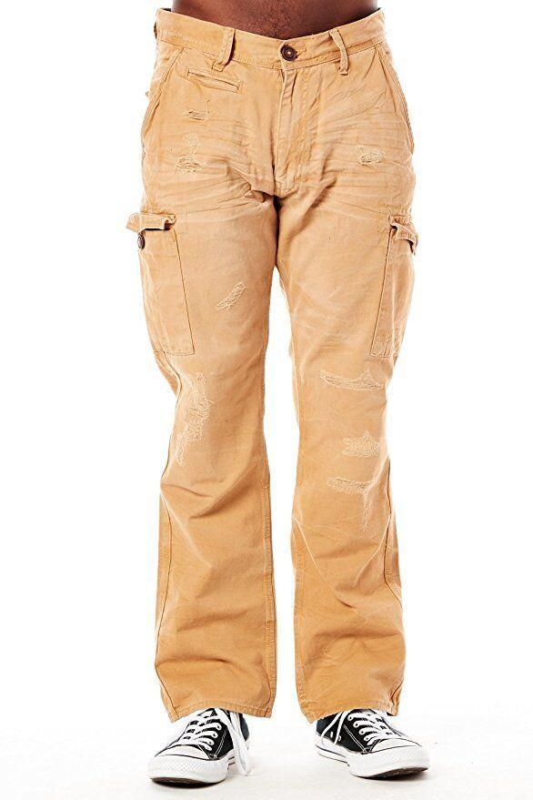 New Men's Jordan Craig Khaki Cargo Shredded Pants Size 36x30 Brand New