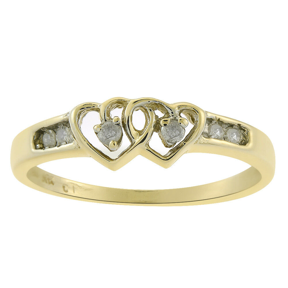 0.06 Carat Round Cut Diamond Heart Ring 10K Yellow gold