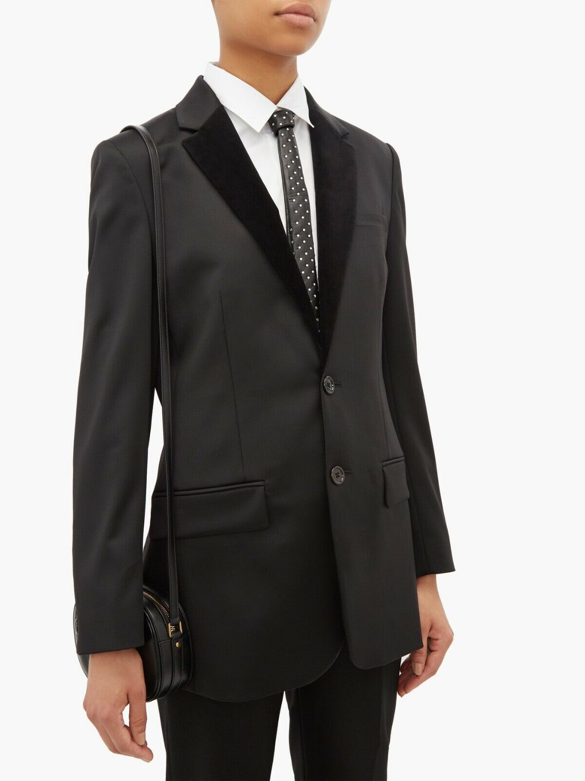 SAINT LAURENT Crystal-Studded Black Leather Tie New in box