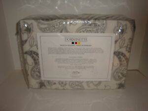 Dormisette-Wulfing-King-Paisley-Luxury-Flannel-Sheet-Set-NIP-Gray-Ivory-Floral