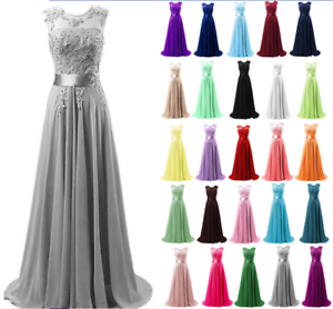 Chiffon Lace Long Evening Formal Party Ball Gown Prom Bridesmaid Dress Size 6~22