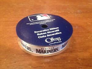 OFFRAY SEATTLE MARINERS RIBBON 33MM X 2.7M 100/% POLYESTER/<NEW 1 5//16IN X 9FT