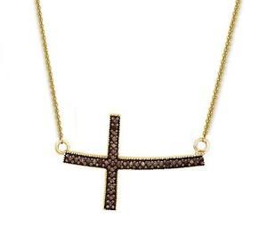 Marron-Chocolate-Diamante-Collar-con-Cruz-10k-Oro-Amarillo-45-7cm-15ct