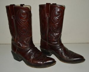 3362df6afdb Vintage ACME Dark Brown Used Western Cowboy Boots Men's Size 9.5 EW ...