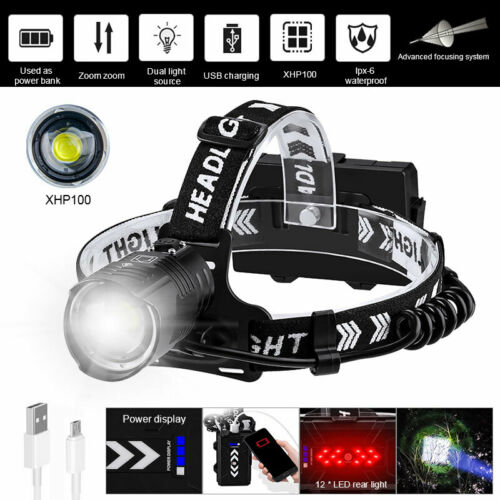 Super Bright XHP90 XHP100 LED Headlight Rechargeable Zoom Headlamp Head Torch