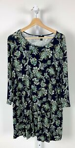 J-JILL-Wearever-Paisley-Floral-Print-Long-Tunic-Top-3-4-Sleeve-Stretch-Blue-XL