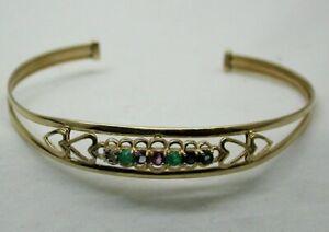 9 carat Gold Precious Gem Set DEAREST Torque Bangle