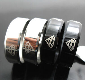 100 wholesale Stainless steel superman rings Wedding School jewelry lots