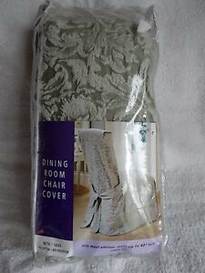 "Sure Fit Dining Room Chair Slipcover Beth/Sage Armless Chairs 42"" Tall New"