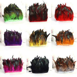Rooster-Hackle-Coque-Feather-Fringe-Craft-Trim-Sewing-Costume-Millinery-12-Color