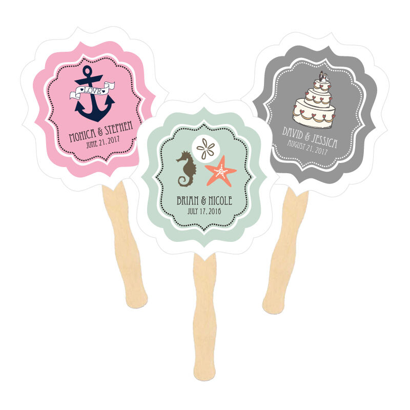 Personalized Paddle Hand Fans Themed 50+ Designs  Birthday Wedding Shower Favors