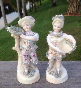 Antique-German-Porcelain-Boy-Girl-Figurines-w-Applied-Flowers-5-5-034-Tall