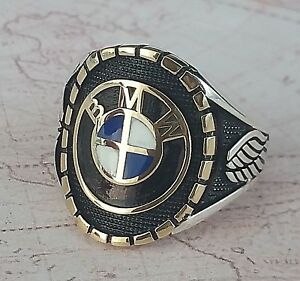 BMW-Ring-Solid-925-K-Sterling-Silver-Mens-Ring