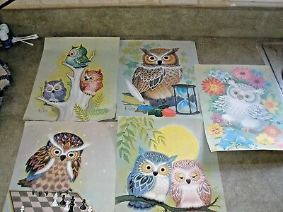 Vintage 1973 HANDY CRAFT-PAK Owl Playing Chess K CHIN Decorative PRINT in Packag