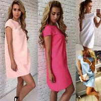 Hot Women Casual Short Sleeve Oversize Loose Chiffon T Shirt Top Blouse Dress #1