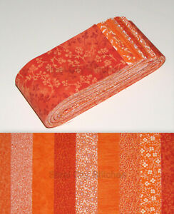 Jelly-Roll-Strips-Shades-of-Orange-Cotton-Fabric-18-Strips-2-5-034-Wide-X-44-034