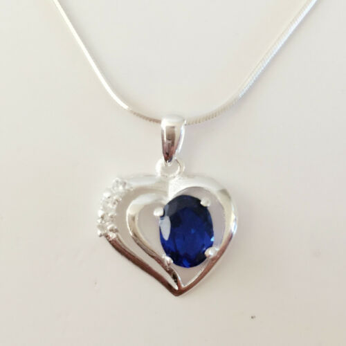 Argent Sterling 925 Saphir Bleu Double Coeur Amour Charme Collier Pendentif P1378