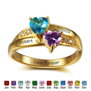 Image Is Loading Personalized Birthstone Name Ring Engagement Couple Rings Birthday