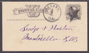 US Sc UX5 used 1880 1c Liberty Postal Card Deland, Ill + Star Fancy Cancel