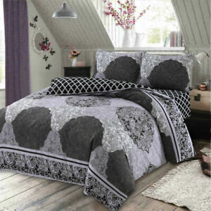 Black /& grey cotton blend quilt duvet cover bedding set all sizes