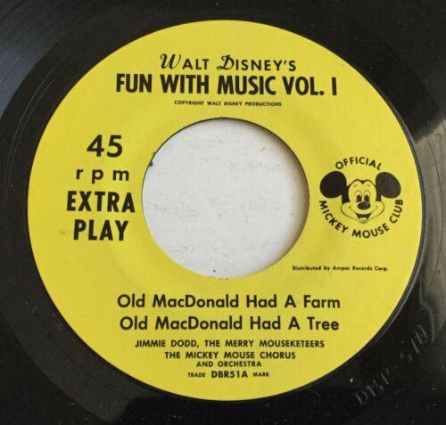 Walt Disney FUN WITH MUSIC VOL I Mickey Mouse Club Disneyland Record DBR-51 MINT