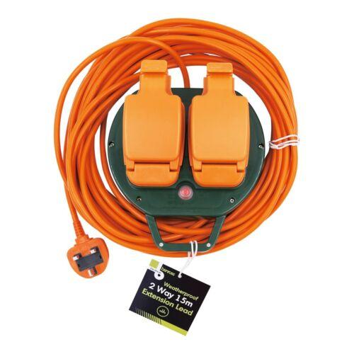 2 Socket 15 M ORANGE Jardin Extérieur Extension Lead Câble IP44 Protection de l/'eau