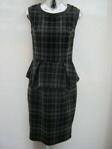 Warehouse-Knee-Length-Peplum-Checked-PU-Trim-Pencil-Dress-Size-12