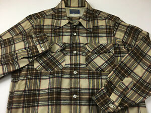 PENDLETON-mens-M-HOOP-COLLAR-button-front-FLANNEL-shirt-made-USA-browns-vintage