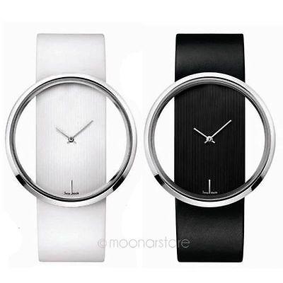 Elegent Women PU Leather Watches Transparent Dial Analog Quartz Wrist Watch Gift