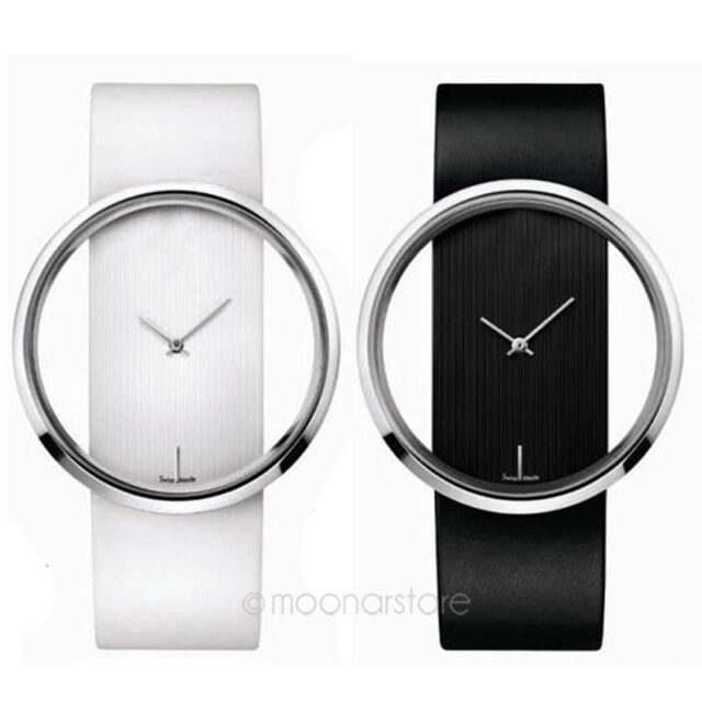 Womens New Trendy Fashion Luxury PU Leather Strap Clear Dial Quartz Wrist Watch