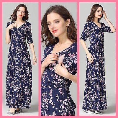 Sale! New Maternity Breastfeeding Nursing Maxi Dress Jilbab Size M L 10 12 14 16