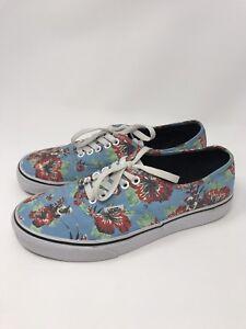 50dbfcd8af Vans Star Wars Yoda Aloha Blue Floral Canvas Sport Skate Shoes Size ...