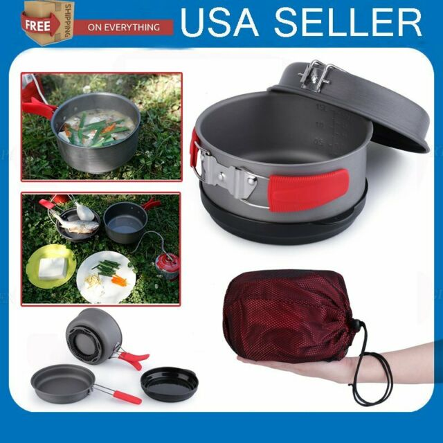 2.4L Camping Heat Exchanger Pot Outdoor Person 2-3 Handle Folding Kettle Heating
