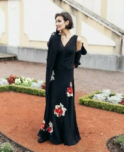 RUNWAY-H-amp-M-Studio-Dress-Silk-Flowers-Embroidery-Roses-XS-S-M-XL-Long-Black