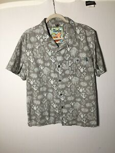 mambo-loud-shirt-Mens-Grey-Patterned-Hawaiian-Button-Shirt-Size-XL-Short-Sleeve
