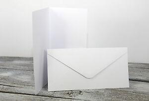 50-x-Klappkarten-amp-Briefumschlaege-WEISS-DIN-LANG-Doppelkarten-Set