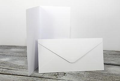 50 x Klappkarten & Briefumschläge WEISS DIN LANG Doppelkarten Set