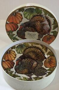 Pottery Barn Heritage Turkey Salad Plates Thanksgiving