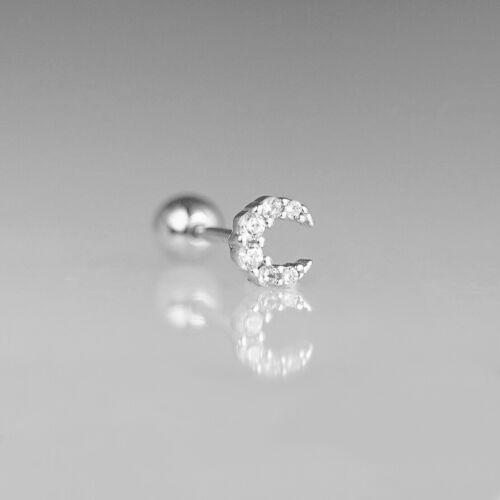 Sterling Silver Mini CZ Crescent Moon Barbell Bead Ball Screw Back Earrings