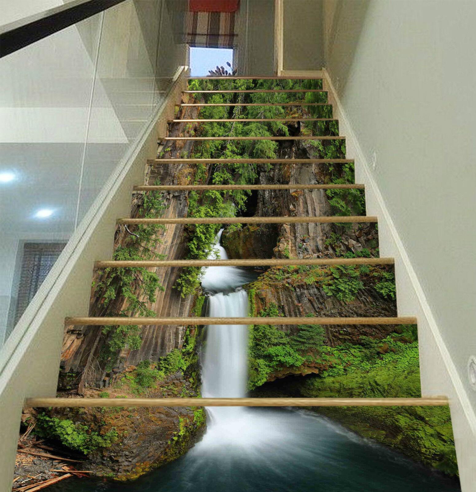 3D Wald Wasserfall 4Stair Risers Dekoration Fototapete Vinyl Aufkleber Tapete DE