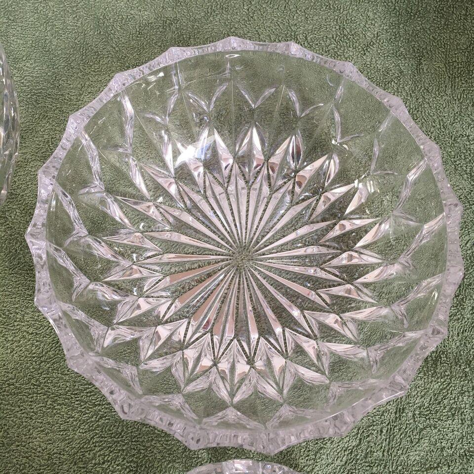 Glas, Vintage skåle krystal, 4 krystalskåle