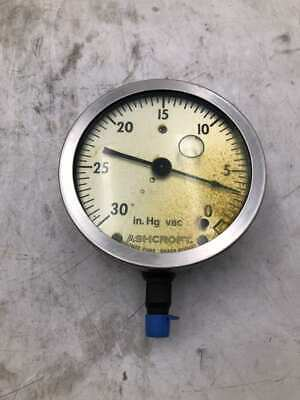 "Air Pressure Gauges Ashcroft 4-1/2"" Liquid Filled Vacuum Gauge 0-30in-hg Vac 1/4"""